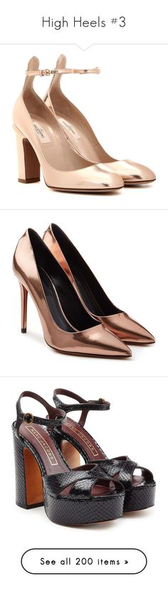"""""""High Heels #3"""" by li-nctzen ❤ liked on Polyvore featuring shoes, pumps, heels, sapatos, valentino, metallic, heel pump, tan shoes, tan leather pumps and valentino pumps"""