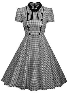 Missmay Womens Elegant Vintage 1940s Short Sleeve Plaid Swing Dress