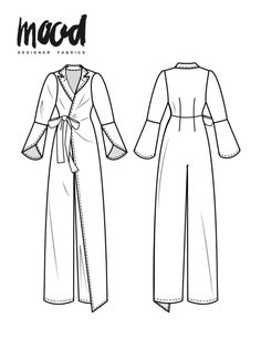 "From Mood Fabric's Sewciety: ""From flowing wide-leg jumpsuits to fitted retro silhouettes, jumpsuits are terrific when you want a chic, put-together look with none of the hassle. The Meadow Jumpsuit free sewing pattern is exactly that. Dress Making Patterns, Easy Sewing Patterns, Vintage Sewing Patterns, Pattern Sewing, Vogue Patterns, Fashion Patterns, Diy Clothing, Sewing Clothes, Clothing Patterns"