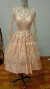 Free Shipping 2014 Actual Images Evening dress Long Sleeves lace evening dresses vestido de festa short evening dress vestidos
