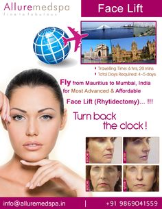 Face Lift is procedure to which can give you a more youthful appearance by reducing saggy skin and wrinkles by Celebrity Face Lift surgeon Dr. Milan Doshi. Fly to India for Face Lift surgery (also known as Rhytidectomy, Face Lifting, Mini Face Lift) at affordable price/cost compare to Curepipe, Centre De Flacq, Quatre Bornes,MAURITIUS at Alluremedspa, Mumbai, India.  For more info- http://www.Alluremedspa-mauritius.com/cosmetic-surgery/face-surgery/face-lift.html