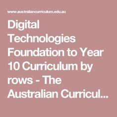 Digital Technologies Foundation to Year 10 Curriculum by rows - The Australian Curriculum v8.3