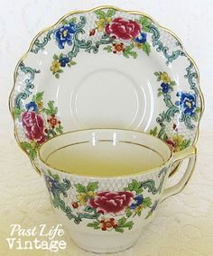 Vintage Booths Floradora English Bone China Cup Saucer 1930u0027s : cup saucer and plate display stand - pezcame.com