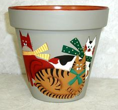 clay pots,yard and garden,handpainted, lee wismer,decorative painting,