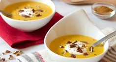 Creamy Butternut Squash Soup with Toasted Pecans: This slimmed-down soup is perfectly seasoned with the Super Spices, cinnamon and ginger.