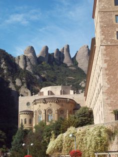 Montserrat Abbey in the mountains outside of Barcelona