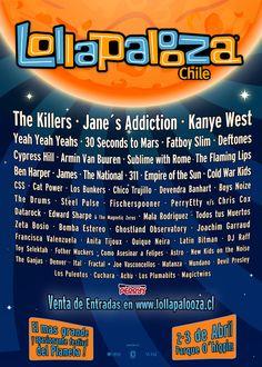 Lollapalooza - Chile http://lineup.lollapaloozacl.com/