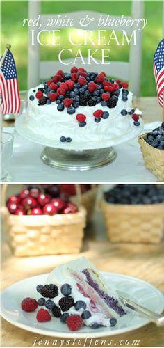 Red, White & Blueberry Ice Cream Cake with Strawberries, Blackberries & Raspberries