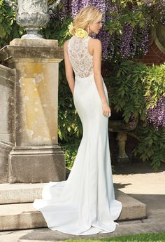 CREPE RACER DRESS WITH ILLUSION BACK #weddings #bridal #camillelavie #groupusa #weddingdress