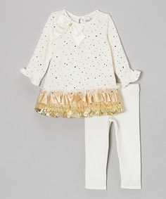 Take a look at this Ivory & Gold Tiered Tunic & Leggings - Infant, Toddler & Girls on zulily today!