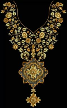 Beautiful neck Hand Embroidery Design Patterns, Embroidery Works, Embroidery Motifs, Gold Embroidery, Dress Neck Designs, Blouse Designs, Dress Painting, Fashion Sewing, Textile Design