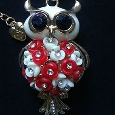 Betsey Johnson Flower owl necklace & Free Gift $6.99 #BetseyJohnson #Chain