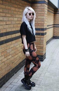 Print leggins, sun, black, sunglasses