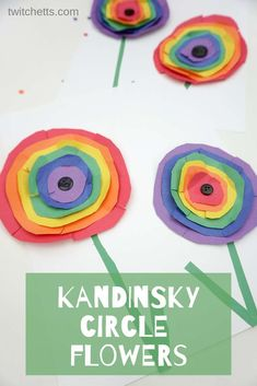 How To Inspire Kandinsky, Rainbow Circle Floral Art With Kids - Projectgardendiy.club - How to Inspire Kandinsky, Rainbow Circle Floral Art with Kids - Rainbow Crafts, Rainbow Art, Rainbow Group, Hair Rainbow, Kids Rainbow, Projects For Kids, Crafts For Kids, Arts And Crafts, Circle Crafts Preschool