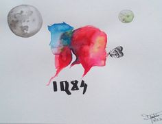 Original painting / 1Q84 - Haruki Murakami / Tengo, Aomame / Two moons / fantastic japan art book #murakami #1Q84 #tengo #Aomame