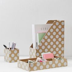Printed Paper Desk Accessories Set, Natural Kraft & White Dot #pbteen