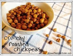 Crunchy Roasted Chickpeas. A great healthy alternative to chips! Fuss Free Vegan Recipes by itdoesnttastelikechicken.com