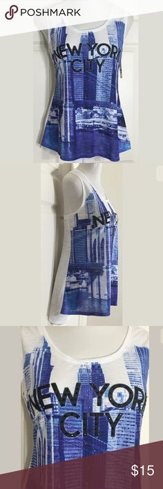 """Style & Co New York City Hi-Low Sleeveless Top Fun blue and white embellished tank top. Would look great with black leggings! Bust: 42""""; Length in the back from the shoulder: 28"""". 100% Polyester. Machine washable. Smoke free home. Thanks for shopping my closet ! Style & Co Tops Tank Tops"""