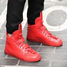 Buy Men Autumn and Winter High Tops Leather Shoes,casual Outdoor Mens Shoes.Color:Black,Red,Blue,Green at Wish - Shopping Made Fun Red Sneakers Outfit, High Top Sneakers, Sneakers Nike, Outdoor Men, Red Blue Green, Swagg, Black Adidas, Leather Shoes, Casual Shoes
