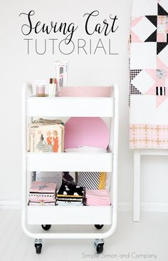 Use this post as an inspiration to make a sewing cart tutorial--because you don't need a large space to sew! You can use a small table and this cart. Sewing Room Decor, Sewing Room Organization, Small Space Organization, Small Sewing Space, Sewing Spaces, Space Crafts, Craft Space, Craft Rooms, Fashion Room