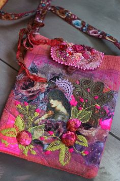 Eden purse  wearable art purse romantic embroidered purse
