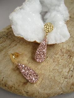 Rose Druzy Earrings Drusy Quartz Gold Vermeil by julianneblumlo, $108.00
