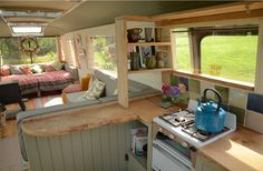 "The Majestic Bus - Converted Bedford Panorama Bus Glamping Accommodation near Hay-on-Wye. Note ""L"" shaped kitchen with seating on living room side. Bus Living, Tiny House Living, Cozy House, Living Room, Glamping, School Bus House, Used School Bus, Converted Bus, Tiny House Swoon"