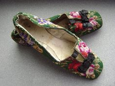 House shoes, wool embroidery of roses on linen, circa 1850, probably French.