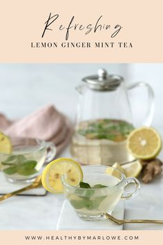 This tasty fresh Lemon, Ginger Mint Tea supports clear skin, better digestion, and immune health. Mint Tea, Clear Skin, Healthy Drinks, Vegan Vegetarian, Smoothies, Delish, Lemon, Tasty, Mugs