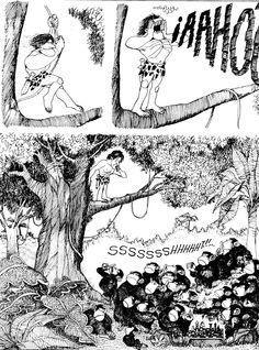 Tarzan, by Quino Humor Grafico, Fun Comics, Illustrations, Comic Artist, Comic Strips, Vignettes, Manga, Illusions, Graphic Art