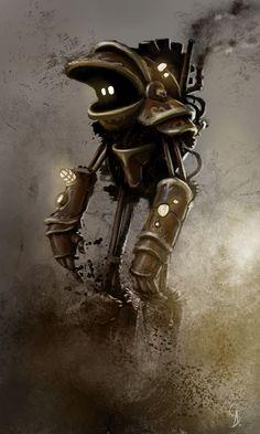 Nice steam robot by LandscapeRunner on DeviantArt Robot Concept Art, Robot Art, Robots, Sketch Inspiration, Character Design Inspiration, Steampunk Characters, Fantasy Life, Steampunk Design, Fantasy Monster