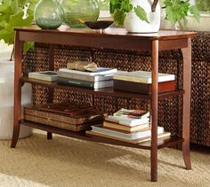 """Chloe Console Table  $379 Special $303 Delivery Surcharge: $40 now $0.   Mahogany .   *Overall: 47.5'' wide x 17'' deep x 30'' high.   *Upper Shelf Interior: 43.5"""" wide x 13"""" deep.   *Clearance Above Upper Shelf: 9.5"""".   Bottom Shelf Interior: 43.5"""" wide x 13"""" deep Clearance Above Bottom Shelf: 10"""" *Clearance From Floor: 6.5"""".  