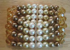 Carolee~Gold Pave Crystal Bar~Brown Cream Pearl~4 Row Stretch Bracelet~Bridal #Carolee #Beaded