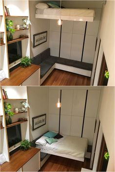 Retractable bed designed and built by Nathan Nostaw for the Tiny House Company's subtropical tiny house in Brisbane, Australia