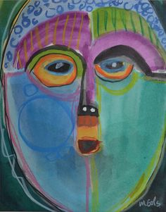 """""""Going Native IV"""" by Jane Ingols.11 x 14 (matted). Acrylic, ink, and colored pencil on paper. SOLD"""