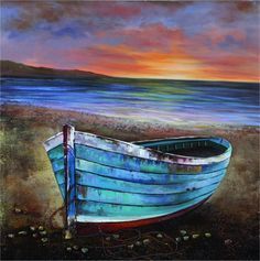 Boat - Hand Painted on Canvas Absolutely love the colors used