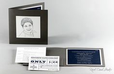 Custom portrait illustrated Bar Mitzvah invitation by Real Card Studio. Illustration by Juli Douglas Illustration.