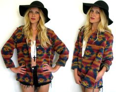 Vintage 80s/ 90s Southwestern NAVAJO Printed Soft Woven TRIBAL Womens Jacket/ Coat Outerwear