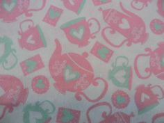 Cotton Flannel Teapot fabric sewing or quilting fabric yardage 1 or more yards by flyingdollar on Etsy