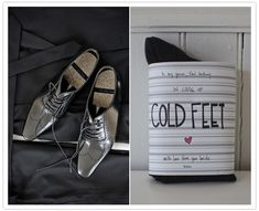 adorable gift of socks to the groom from the bride {in case of cold feet} Wedding gift to groom?  <3PenyaDS