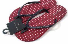 NEW Red Blue White Tommy Hilfiger Women Summer Flip Flops Sandals Beach Slippers #TommyHilfiger #FlipFlops