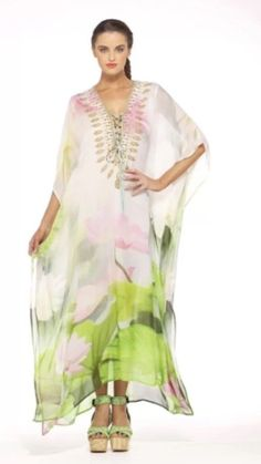 NEW CAMILLA FRANKS SWAROVSKI SILK SPRINGTIME LOVE LACE UP KAFTAN #CamillaFranks