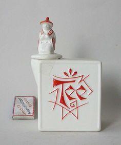 TEE Teedose ROESLER Keramik Dose Darmstadt Keramikdose ART DECO 1920 mit Chinese