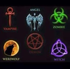 Made in Photoshop. I had a nagging to do this project, where I found the most common symbols associated with the most well known supernatural beings in . Symbols of the Supernatural Supernatural Symbols, Supernatural Tattoo, Supernatural Quotes, Supernatural Beings, Supernatural Fandom, Vampire Symbols, Magic Symbols, Demon Symbols, Viking Symbols