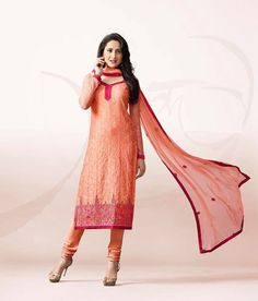 Naksh - Elegant Peach And Pink Chanderi Silk Suit Lehenga Suit, Silk Suit, Peach, Suits, Elegant, Pink, Classy, Outfits, Suit