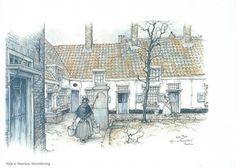 Anton Pieck - Hofje Barrevoetstraat Haarlem (van Loo of Wijnberg?)