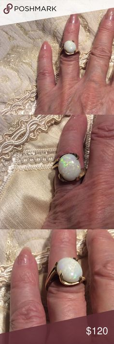 MORE PICTURES of OPAL RING Opal ring  sparkles with color. 5-6 Jewelry Rings