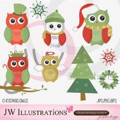 My Grafico: Christmas Owls Clipart