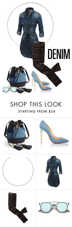 """""""denim"""" by cglife ❤ liked on Polyvore featuring See by Chloé, Christian Louboutin, Maison Margiela and LE3NO"""