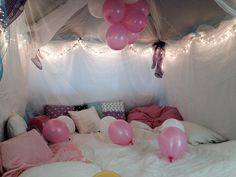 Daughters princess fort for her birthday slumber party. Outdoor canopy tent transformed.